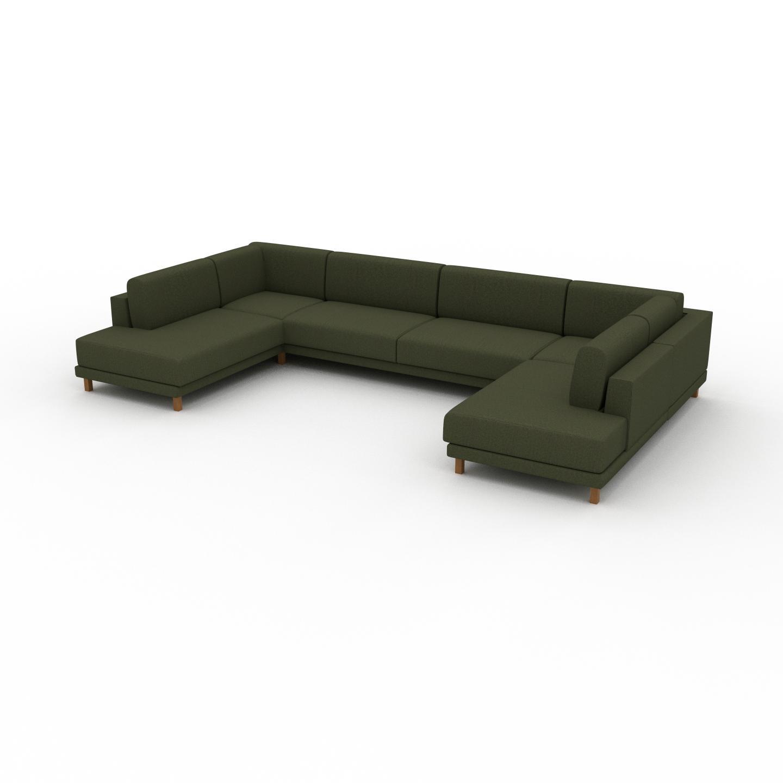 MYCS Canapé en U - Vert Olive, design épuré, canapé d'angle panoramique, grand et tendance, avec pieds - 388 x 75 x 214 cm, modulable