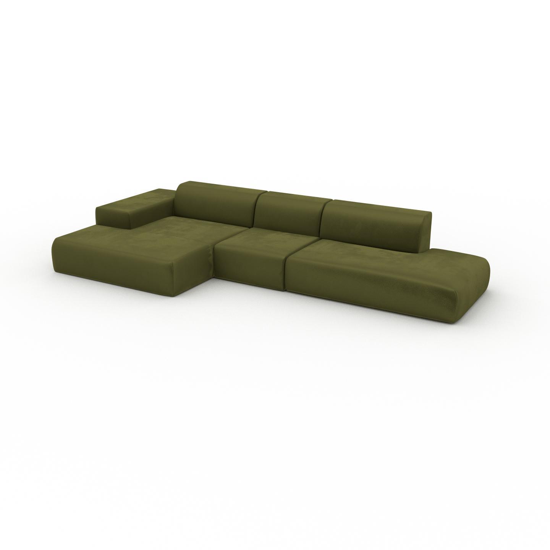 MYCS Canapé d'angle Velours - Vert Olive, design arrondi, canapé en L ou angle, confortable avec méridienne ou coin - 385 x 72 x 168 cm, modulable
