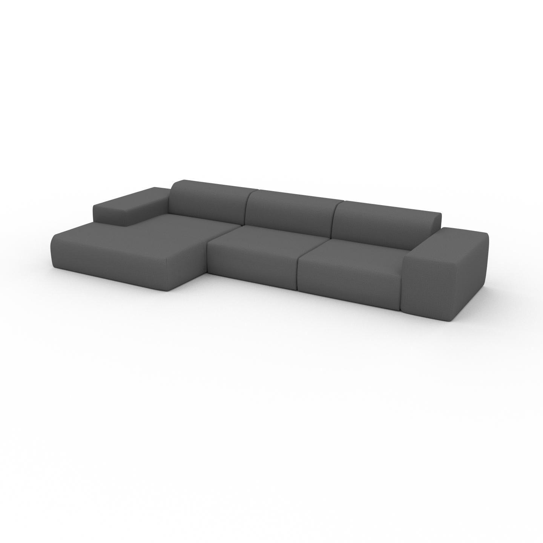 MYCS Canapé d'angle - Gris Pierre, design arrondi, canapé en L ou angle, confortable avec méridienne ou coin - 396 x 72 x 168 cm, modulable
