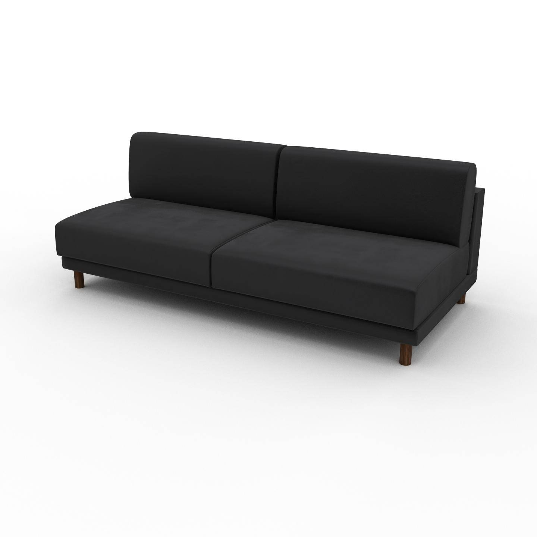 MYCS Canapé Velours - Gris Pierre, modèle épuré, canapé pour salon, en tissu avec pieds personnalisables - 200 x 75 x 98 cm, modulable