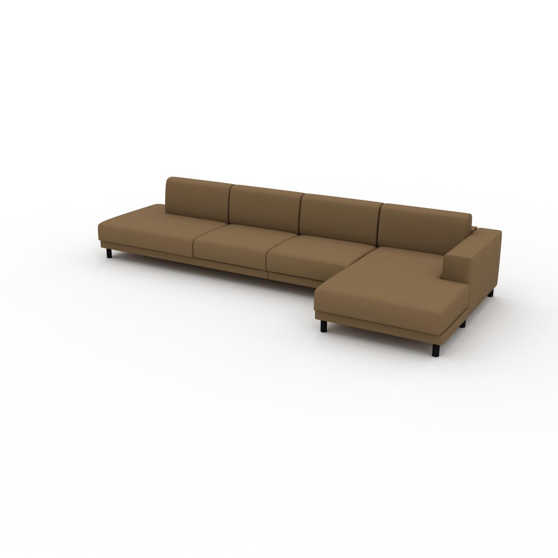 MYCS Canapé - Noix, modèle épuré, canapé pour salon, en tissu avec pieds personnalisables - 384 x 75 x 162 cm, modulable