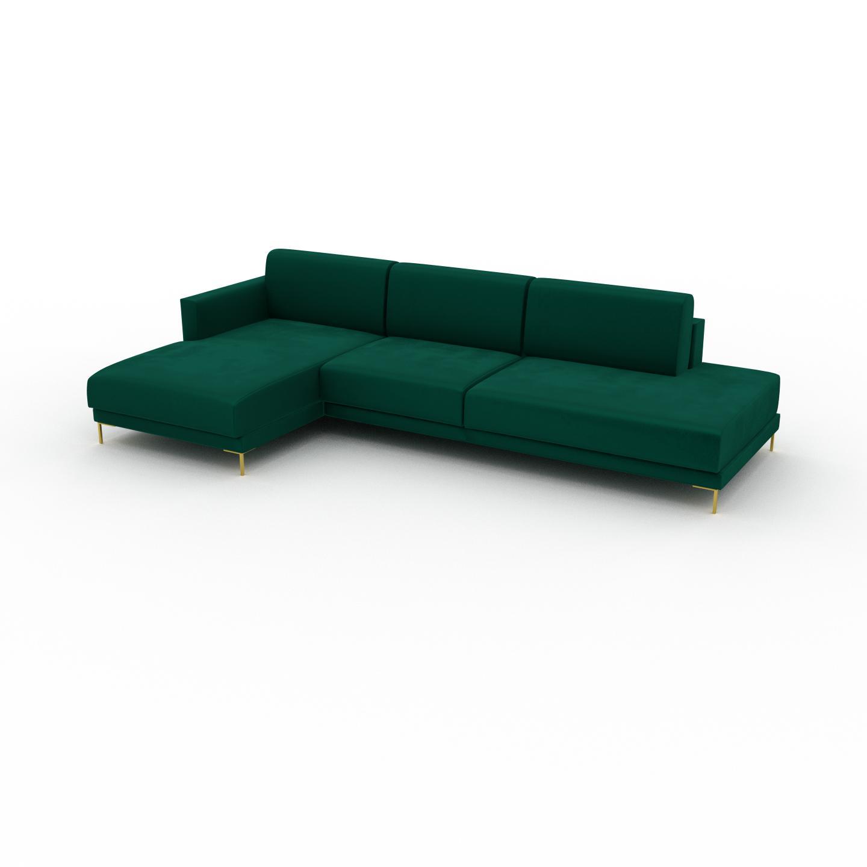 MYCS Canapé en U Velours - Vert de forêt avec des pieds dorés, design épuré, canapé d'angle panoramique, grand et tendance, avec pieds - 292 x 75 x 162 cm,