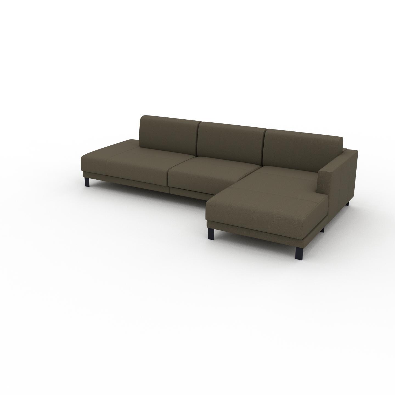 MYCS Canapé d'angle - Vert olive, design épuré, canapé en L ou angle, élégant avec méridienne ou coin - 292 x 75 x 162 cm, modulable