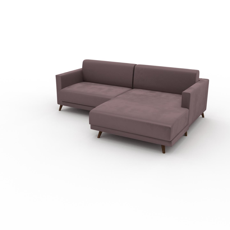 MYCS Canapé d'angle Velours - Rose Poudré, design épuré, canapé en L ou angle, élégant avec méridienne ou coin - 225 x 75 x 162 cm, modulable
