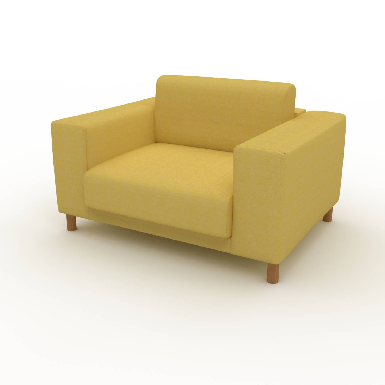 MYCS Fauteuil - Jaune Moutarde, modèle épuré, grand fauteuil en tissu avec pieds personnalisables - 128 x 75 x 98 cm, modulable
