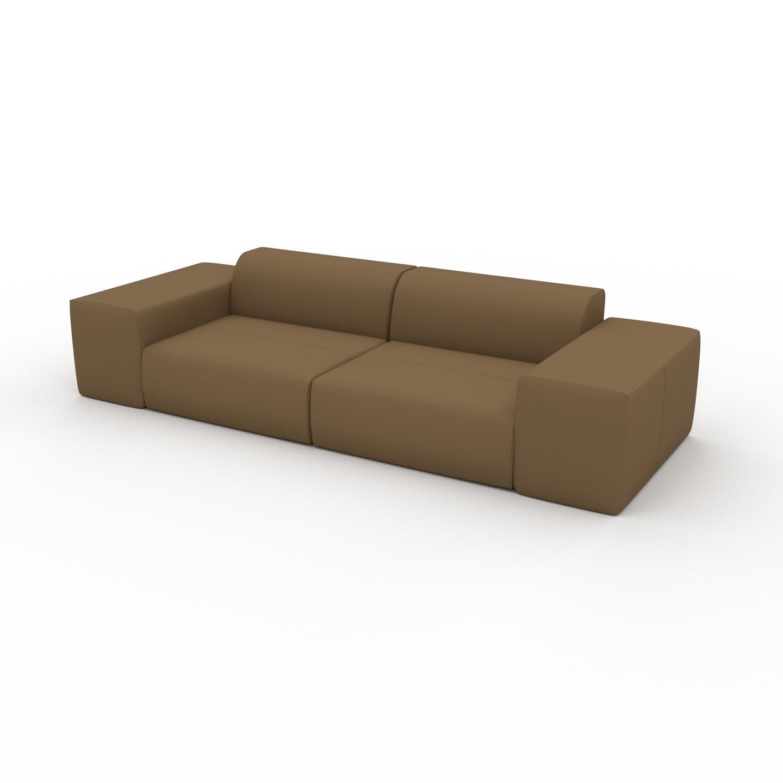 MYCS Canapé en cuir - Noix Cuir Nubuck, lounge, esprit club ou cosy avec toucher chaleureux - 294 x 72 x 107 cm, modulable