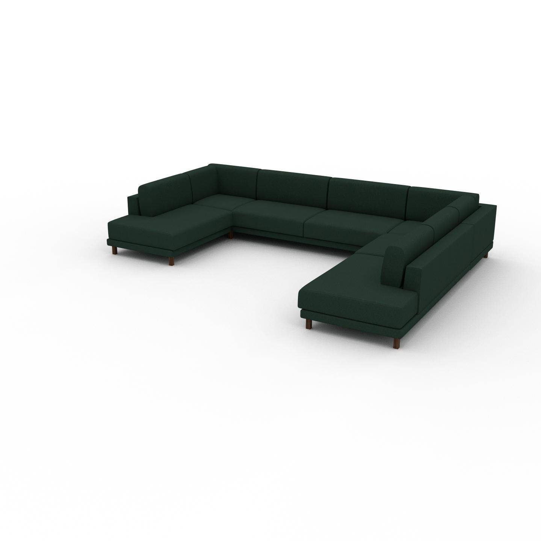 MYCS Canapé en U - Vert Sapin, design épuré, canapé d'angle panoramique, grand et tendance, avec pieds - 388 x 75 x 294 cm, modulable
