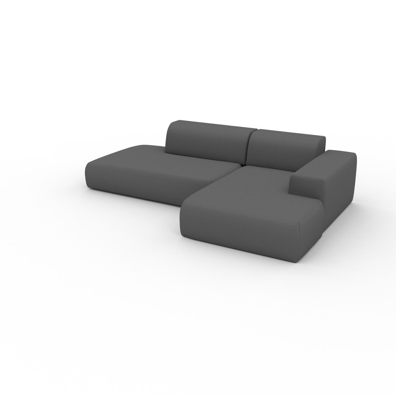 MYCS Canapé d'angle - Gris Pierre, design arrondi, canapé en L ou angle, confortable avec méridienne ou coin - 271 x 72 x 168 cm, modulable