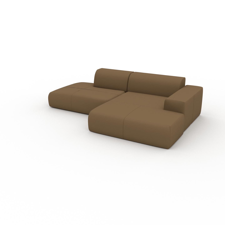 MYCS Canapé en cuir - Noix Cuir Nubuck, lounge, esprit club ou cosy avec toucher chaleureux - 270 x 72 x 168 cm, modulable