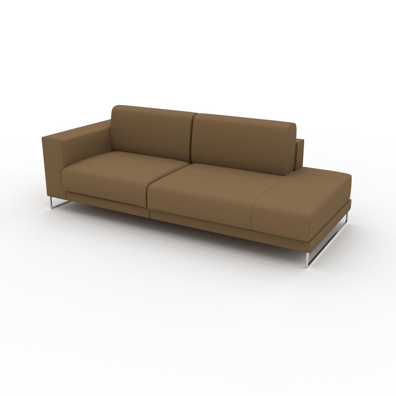 MYCS Canapé en cuir - Noix Cuir Nubuck, lounge, esprit club ou cosy avec toucher chaleureux, 224x 75 x 98 cm, modulable