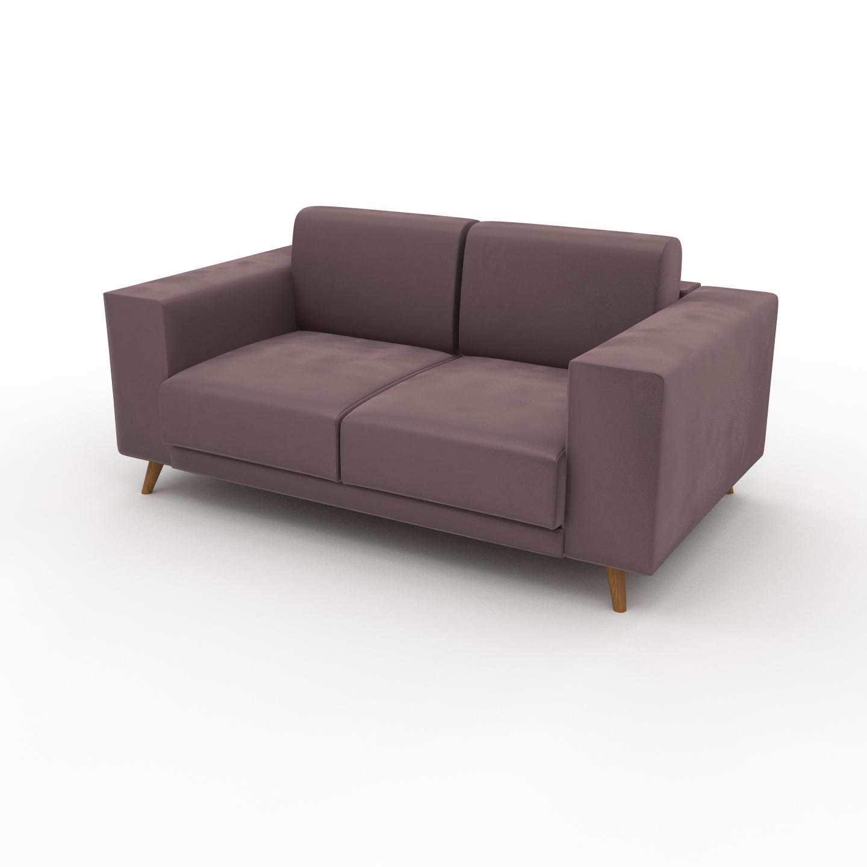 MYCS Canapé Velours - Rose Poudré, modèle épuré, canapé pour salon, en tissu avec pieds personnalisables - 168 x 75 x 98 cm, modulable