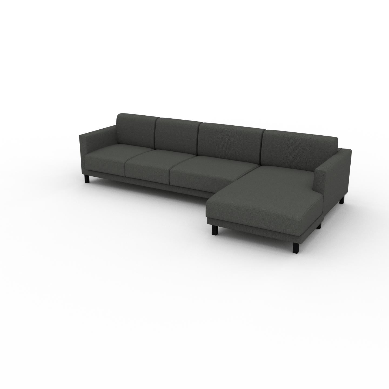 MYCS Canapé d'angle - Gris Pierre, design épuré, canapé en L ou angle, élégant avec méridienne ou coin - 304 x 75 x 162 cm, modulable