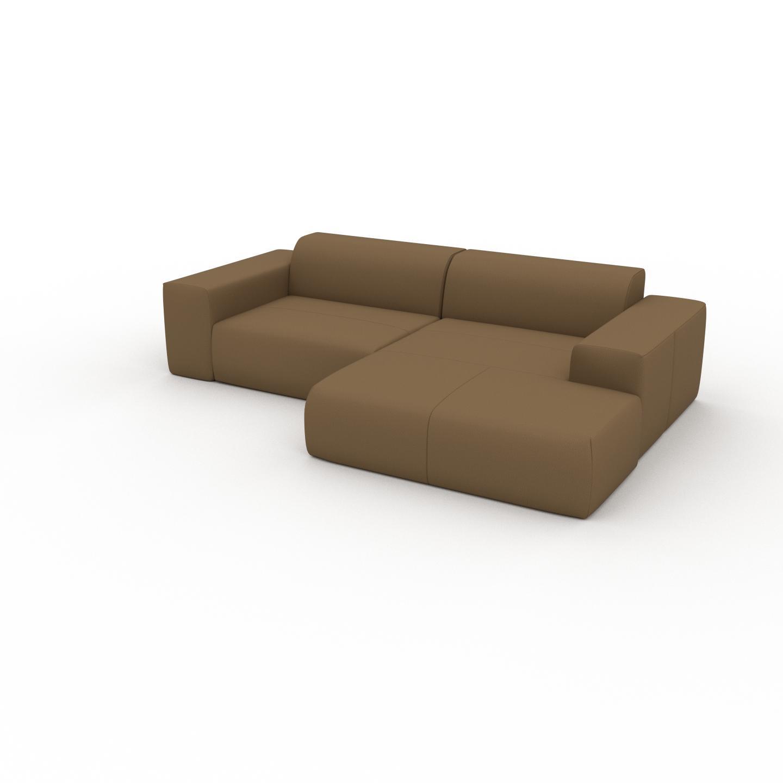 MYCS Canapé en cuir - Noix Cuir Nubuck, lounge, esprit club ou cosy avec toucher chaleureux - 268 x 72 x 168 cm, modulable