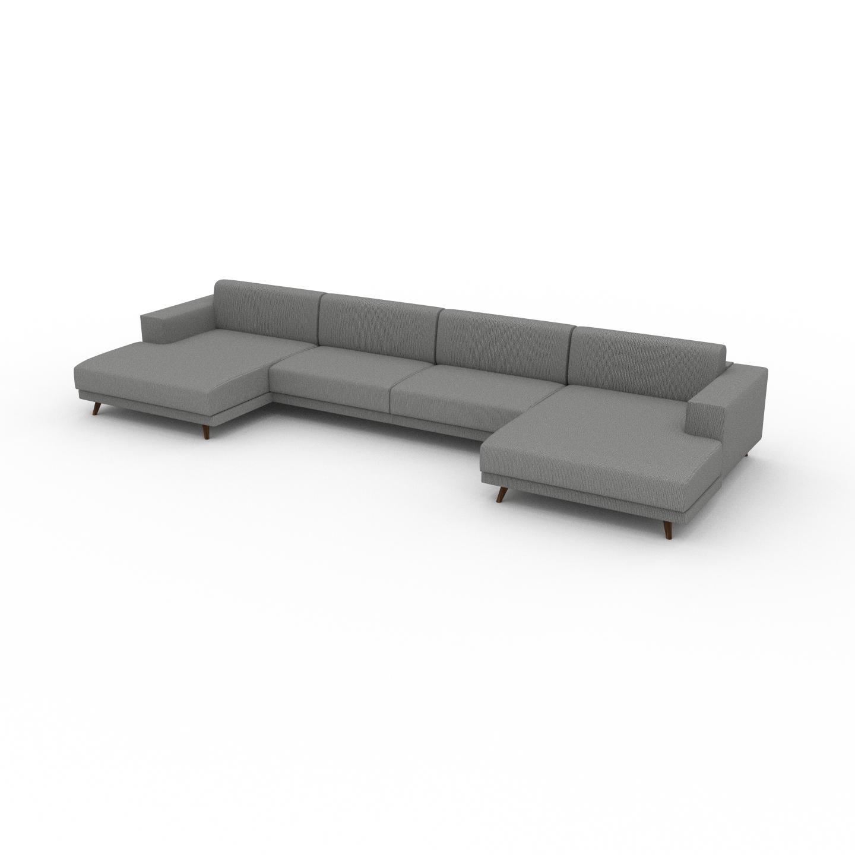 MYCS Canapé en U - Blanc Granite, design épuré, canapé d'angle panoramique, grand et tendance, avec pieds - 448 x 75 x 162 cm, modulable