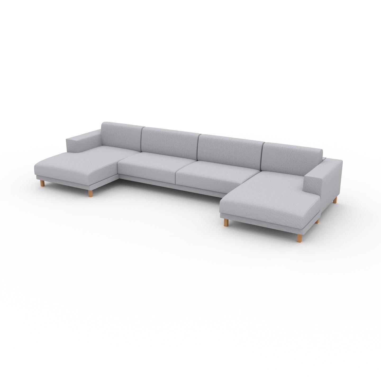 MYCS Canapé en U - Gris Clair, design épuré, canapé d'angle panoramique, grand et tendance, avec pieds - 408 x 75 x 162 cm, modulable