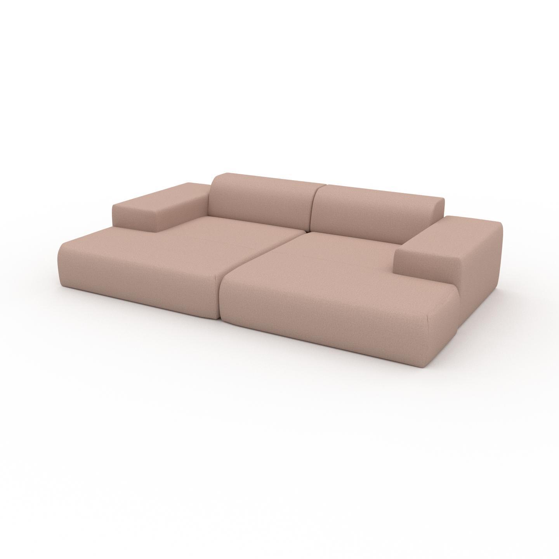 MYCS Canapé en U - Rose poudré, design arrondi, canapé d'angle panoramique, grand, bas et confortable - 298 x 72 x 168 cm, modulable