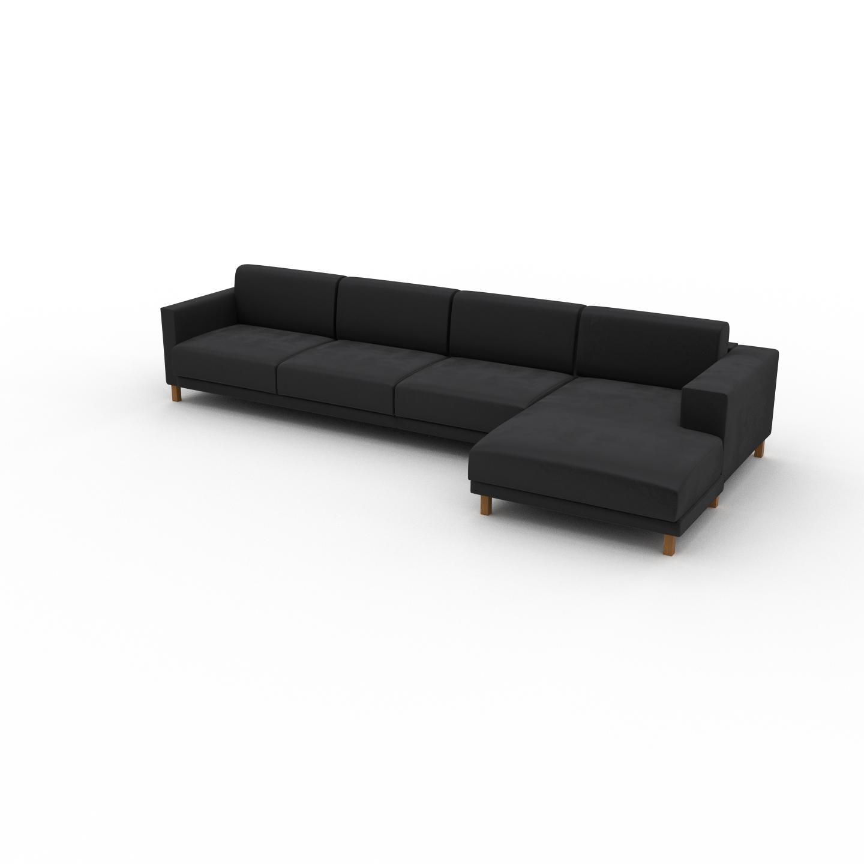 MYCS Canapé d'angle Velours - Gris Pierre, design épuré, canapé en L ou angle, élégant avec méridienne ou coin - 356 x 75 x 162 cm, modulable