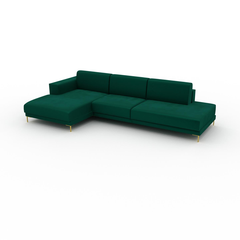 MYCS Canapé d'angle Velours - Vert de forêt avec des pieds dorés, design épuré, canapé en L ou angle, élégant avec méridienne ou coin - 304 x 75 x 162 cm,