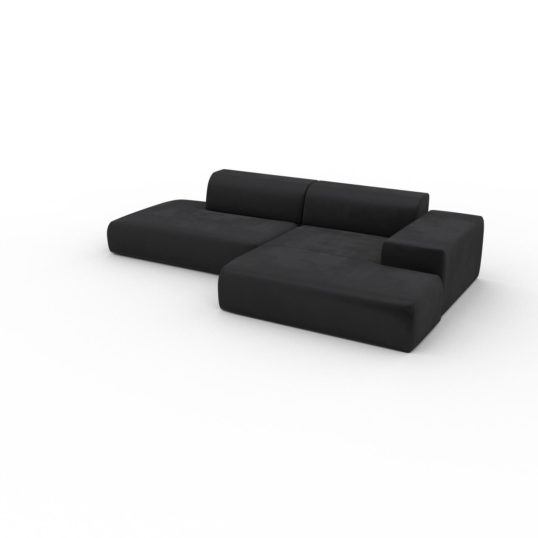 MYCS Canapé d'angle Velours - Gris Pierre, design arrondi, canapé en L ou angle, confortable avec méridienne ou coin - 310 x 72 x 168 cm, modulable