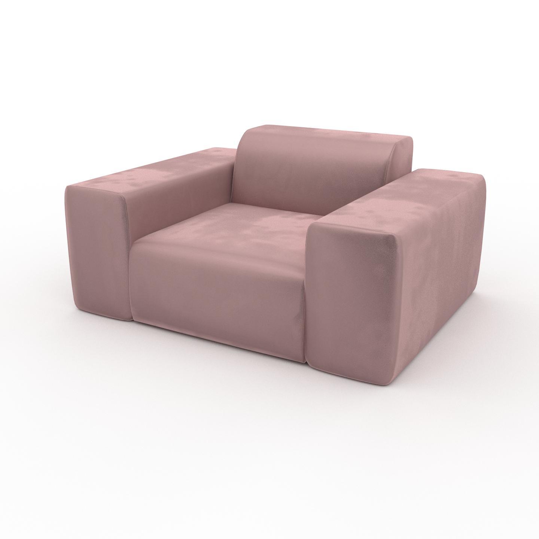 MYCS Fauteuil Velours - Rose Bonbon, forme arrondi, grand fauteuil en tissu, bas et profond - 141 x 72 x 107 cm, modulable