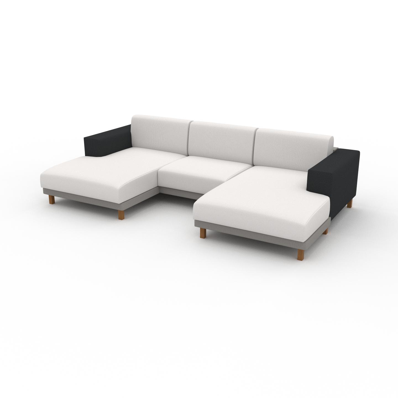 MYCS Canapé en U - Blanc, design épuré, canapé d'angle panoramique, grand et tendance, avec pieds - 288 x 75 x 162 cm, modulable