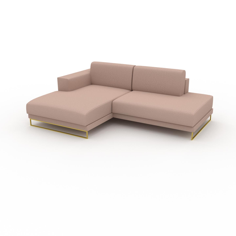 MYCS Canapé d'angle - Rose poudré avec des pieds dorés, design épuré, canapé en L ou angle, élégant avec méridienne ou coin - 224 x 75 x 162 cm, modulable