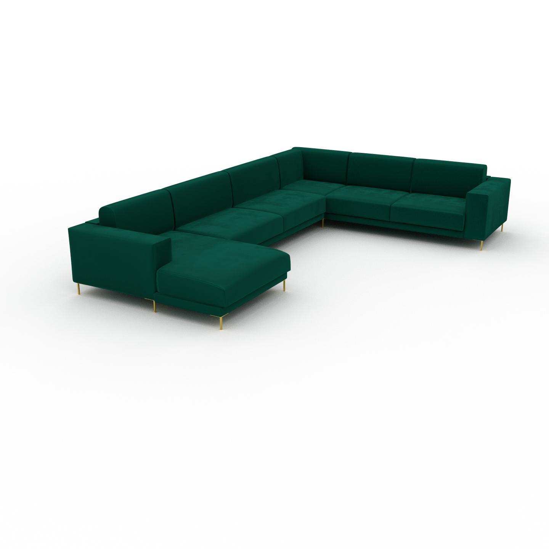 MYCS Canapé en U Velours - Vert de forêt avec des pieds dorés, design épuré, canapé d'angle panoramique, grand et tendance, avec pieds - 278 x 75 x 398 cm,
