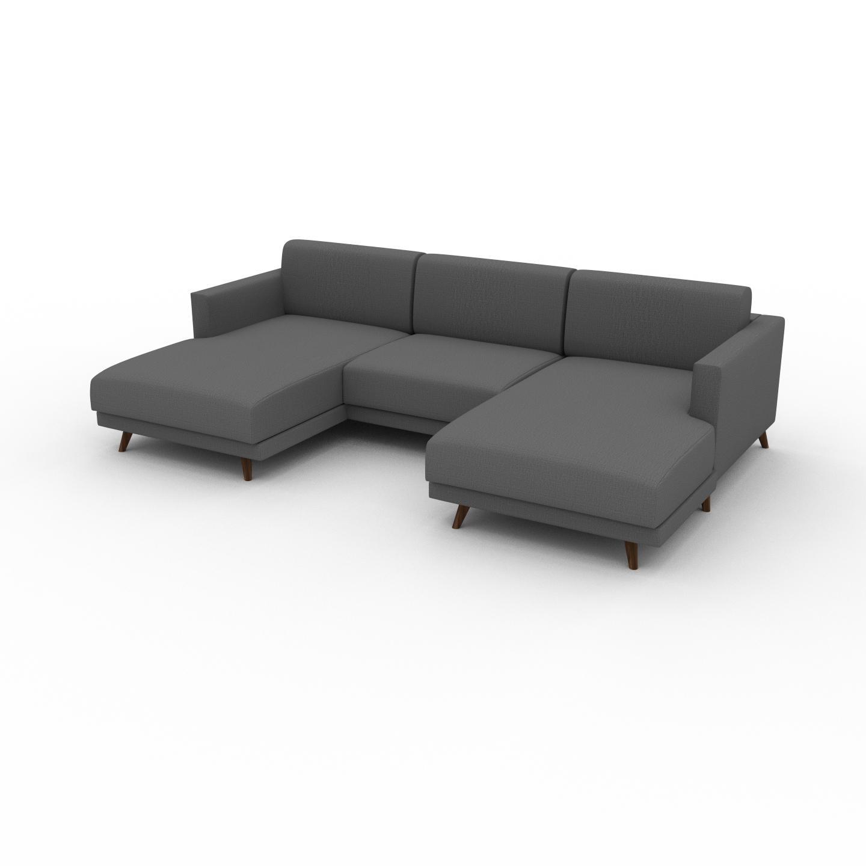MYCS Canapé en U - Gris Pierre, design épuré, canapé d'angle panoramique, grand et tendance, avec pieds - 265 x 75 x 162 cm, modulable