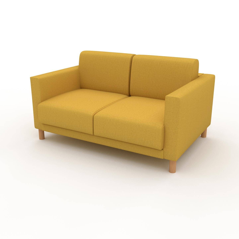 MYCS Canapé - Jaune Colza, modèle épuré, canapé pour salon, en tissu avec pieds personnalisables - 144 x 75 x 98 cm, modulable