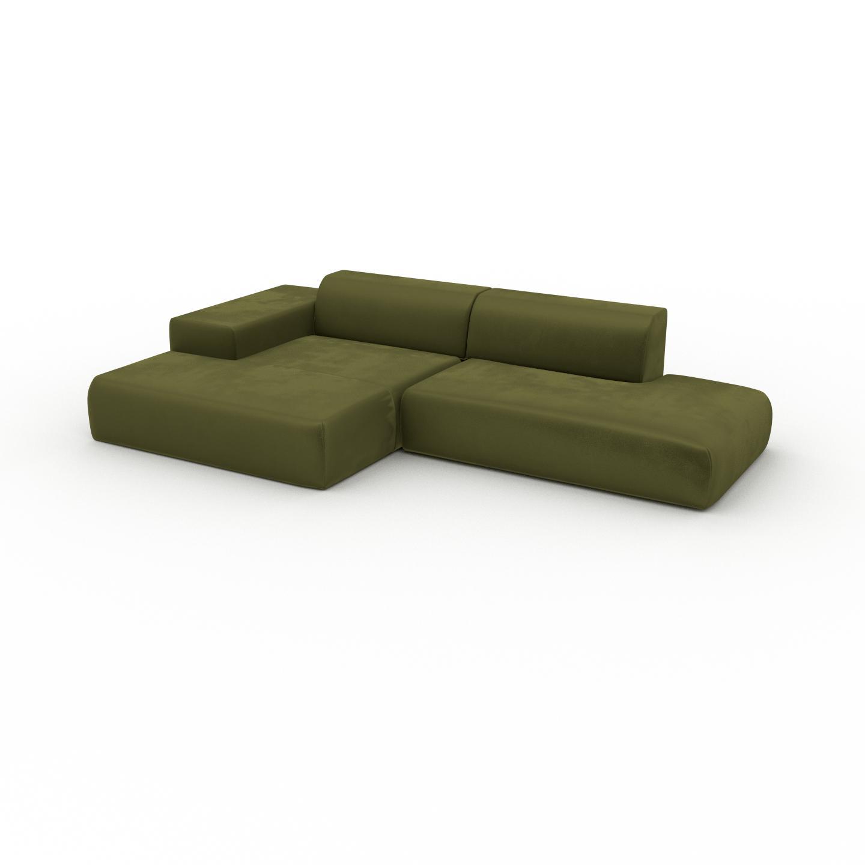 MYCS Canapé d'angle Velours - Vert Olive, design arrondi, canapé en L ou angle, confortable avec méridienne ou coin - 310 x 72 x 168 cm, modulable