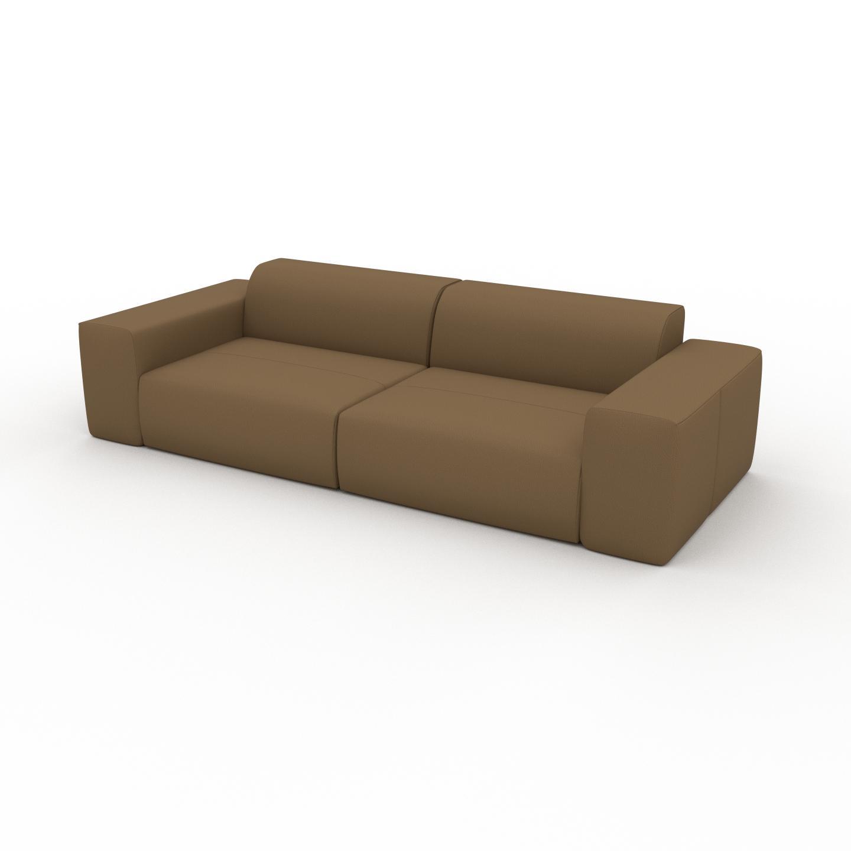 MYCS Canapé en cuir - Noix Cuir Nubuck, lounge, esprit club ou cosy avec toucher chaleureux - 266 x 72 x 107 cm, modulable