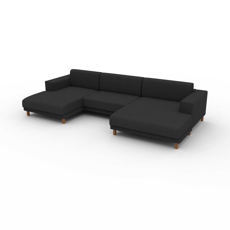 MYCS Canapé en U - Noir Nuit, design épuré, canapé d'angle panoramique, grand et tendance, avec pieds - 328 x 75 x 162 cm, modulable