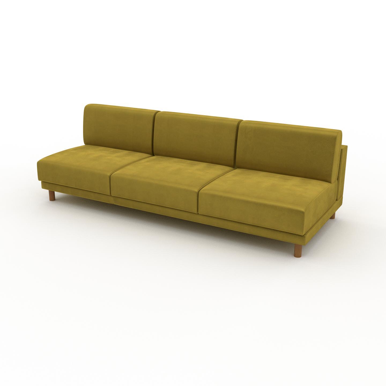 MYCS Canapé Velours - Jaune Colza, modèle épuré, canapé pour salon, en tissu avec pieds personnalisables - 240 x 75 x 98 cm, modulable