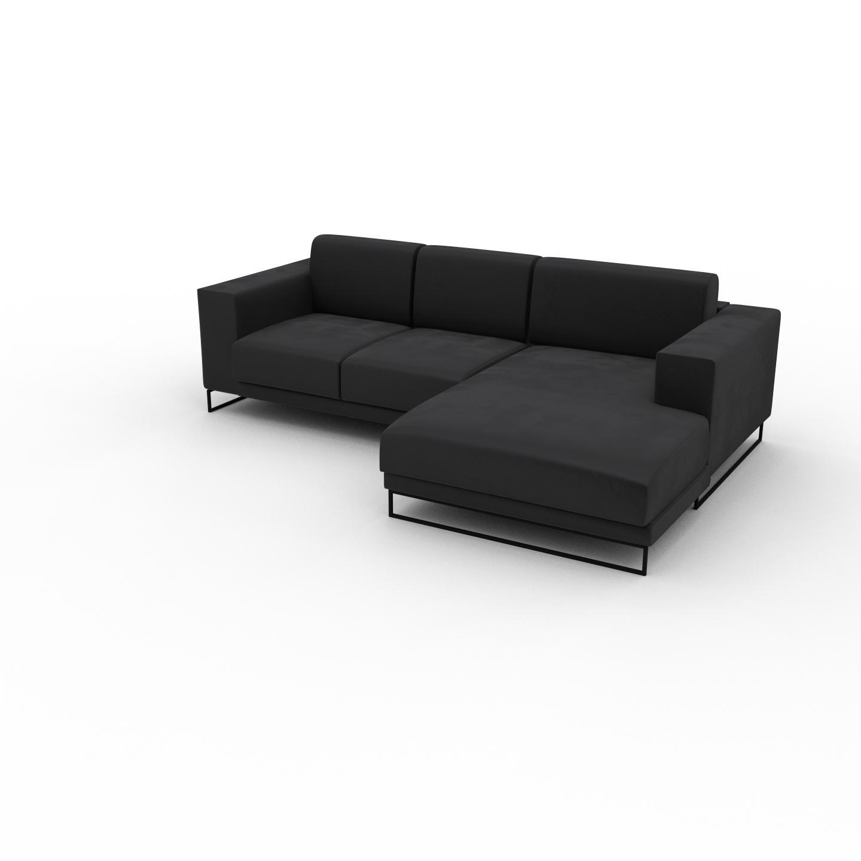 MYCS Canapé d'angle Velours - Gris Pierre, design épuré, canapé en L ou angle, élégant avec méridienne ou coin - 248 x 75 x 162 cm, modulable