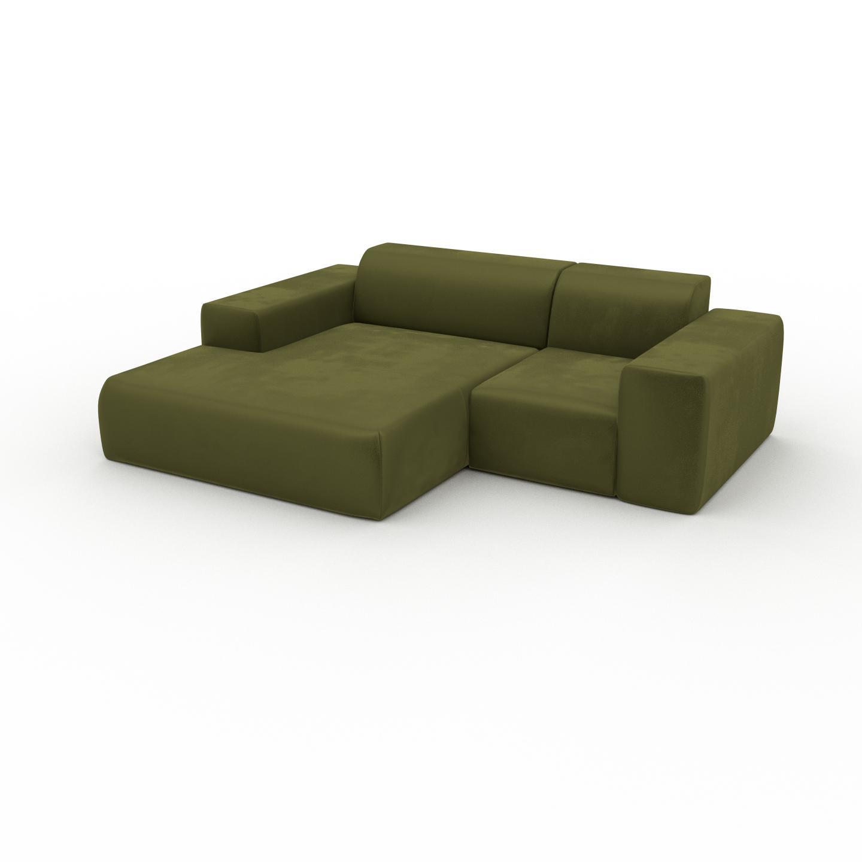 MYCS Canapé en U Velours - Vert Olive, design arrondi, canapé d'angle panoramique, grand, bas et confortable - 228 x 72 x 168 cm, modulable