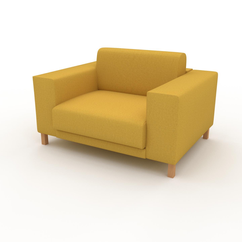 MYCS Fauteuil - Jaune Colza, modèle épuré, grand fauteuil en tissu avec pieds personnalisables - 128 x 75 x 98 cm, modulable