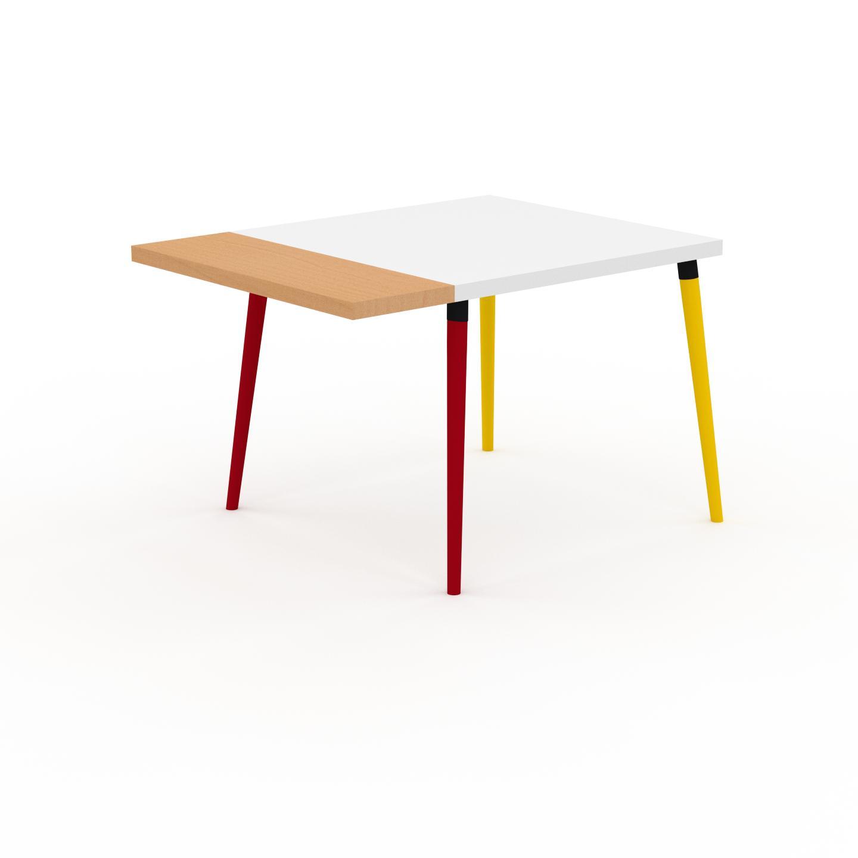 MYCS Table à manger - Blanc, design scandinave, pour salle à manger ou cuisine nordique, table extensible à rallonge - 120 x 75 x 90 cm