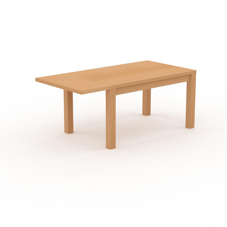 MYCS Table à manger extensible - Hêtre, contemporaine, pour salle à manger ou cuisine, avec une rallonge Hêtre - 180 x 76 x 90 cm, personnalisable