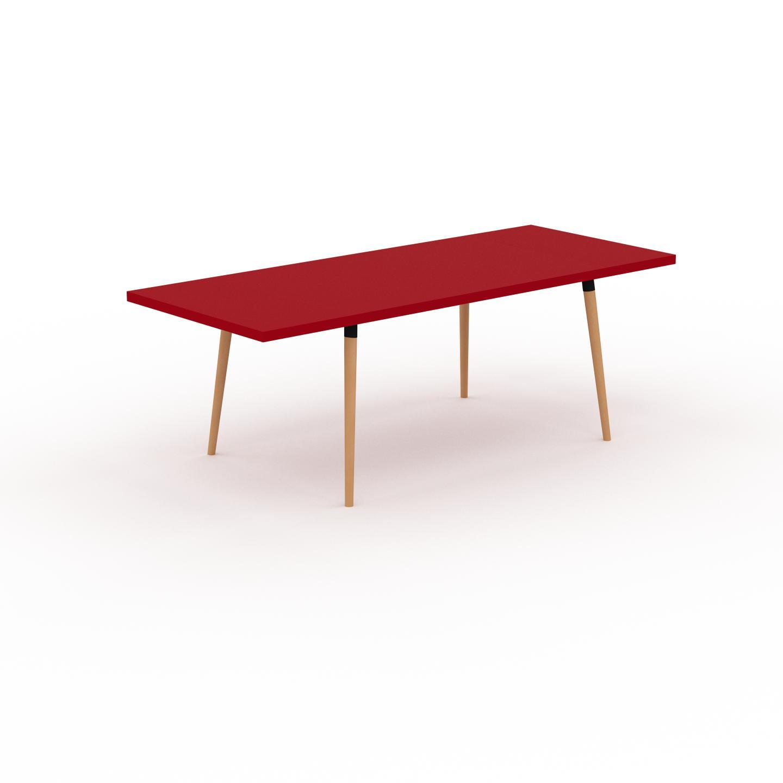 MYCS Table à manger - Rouge, design scandinave, pour salle à manger ou cuisine nordique, table extensible à rallonge - 220 x 75 x 90 cm