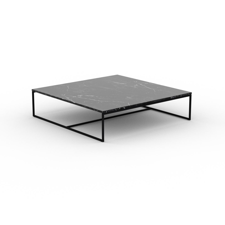 MYCS Table basse en marbre Noir Marquina, design contemporain, bout de canapé luxueux et sophistiqué - 121 x 31 x 121 cm, personnalisable
