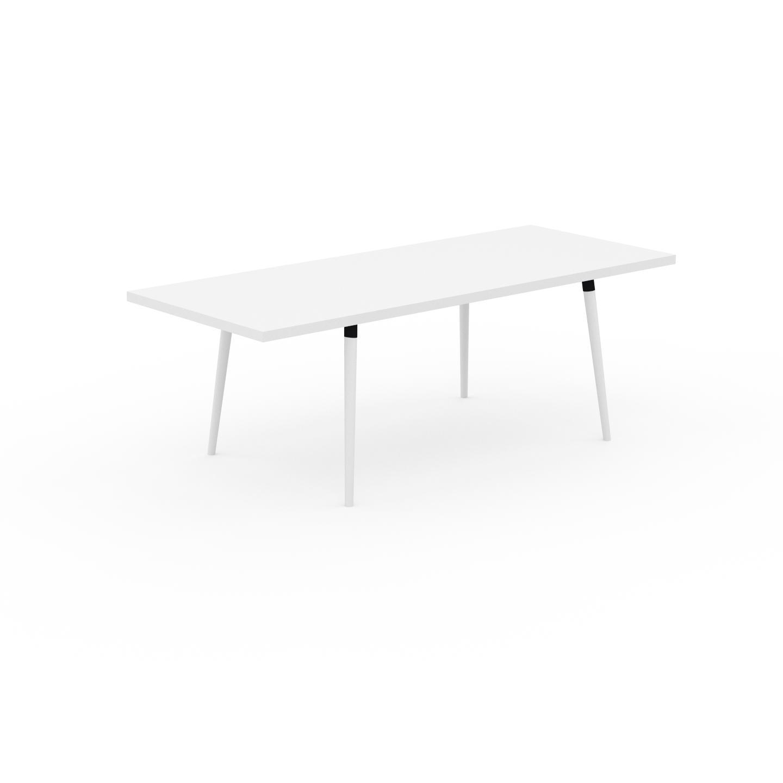 MYCS Table à manger - Blanc, design scandinave, pour salle à manger ou cuisine nordique, table extensible à rallonge - 220 x 75 x 90 cm