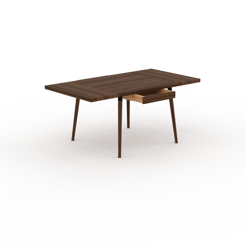 MYCS Table à manger - Noyer, design scandinave, pour salle à manger ou cuisine nordique, table extensible à rallonge - 170 x 75 x 90 cm