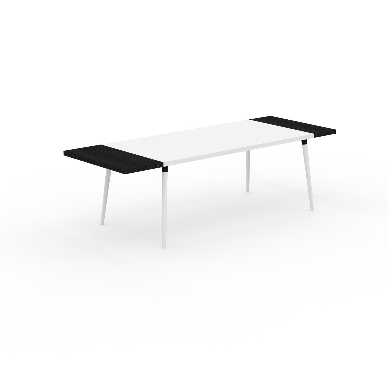 MYCS Table à manger - Blanc, design scandinave, pour salle à manger ou cuisine nordique, table extensible à rallonge - 250 x 75 x 90 cm