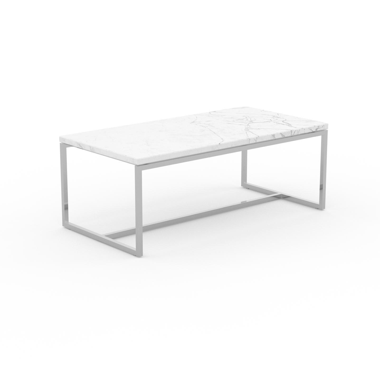 MYCS Table basse en marbre Blanc Carrara, design contemporain, bout de canapé luxueux et sophistiqué - 81 x 31 x 42 cm, personnalisable