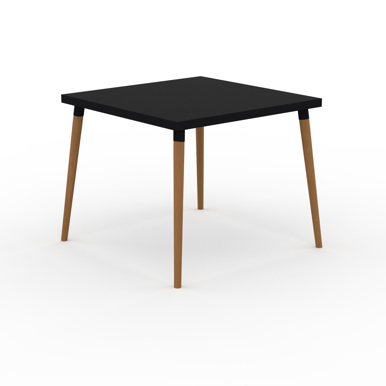 MYCS Table à manger - Noir, design scandinave, pour salle à manger ou cuisine nordique - 90 x 75 x 90 cm, personnalisable