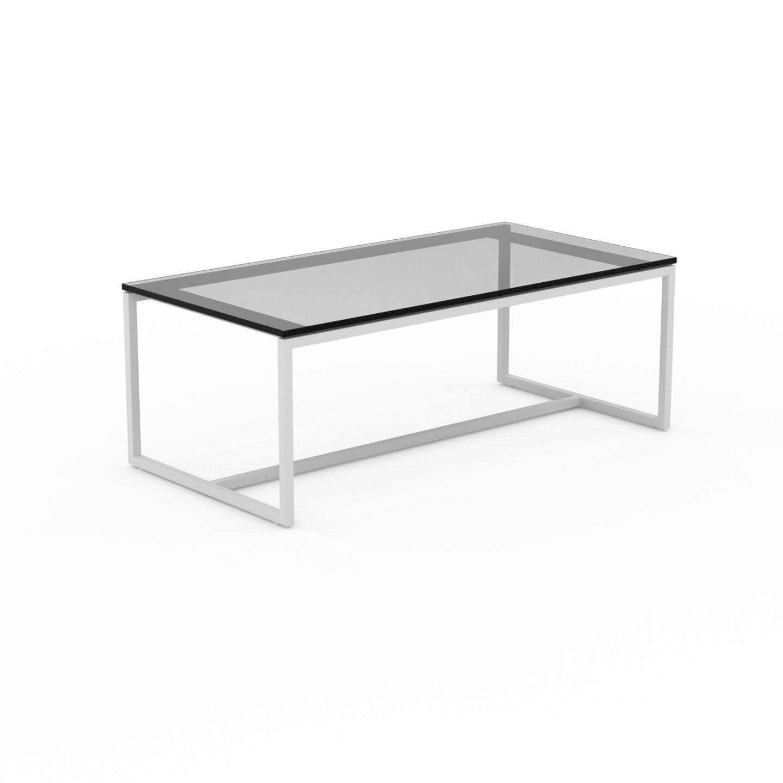 MYCS Table basse en Verre fumé transparent, design industriel, bout de canapé raffiné - 81 x 31 x 42 cm, personnalisable