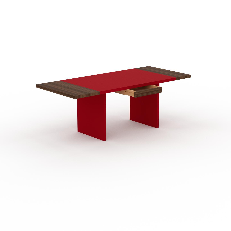 MYCS Table à manger extensible - Rouge, moderne, pour salle à manger ou cuisine, avec deux rallonges - 210 x 75 x 90 cm, personnalisable