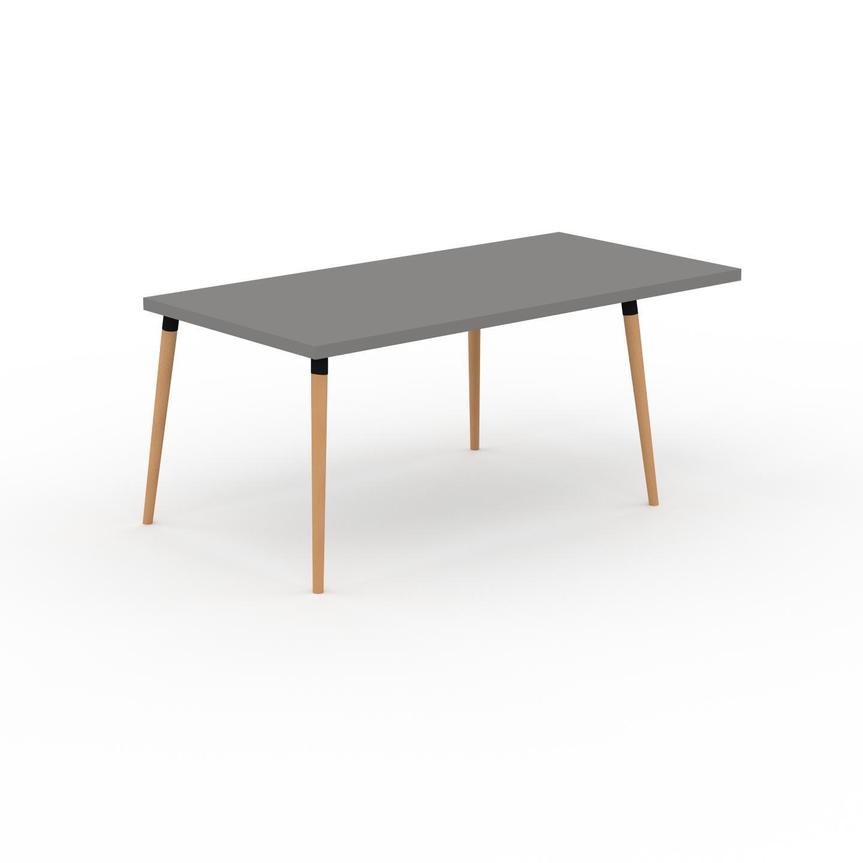 MYCS Table à manger - Gris, design scandinave, pour salle à manger ou cuisine nordique, table extensible à rallonge - 180 x 75 x 90 cm