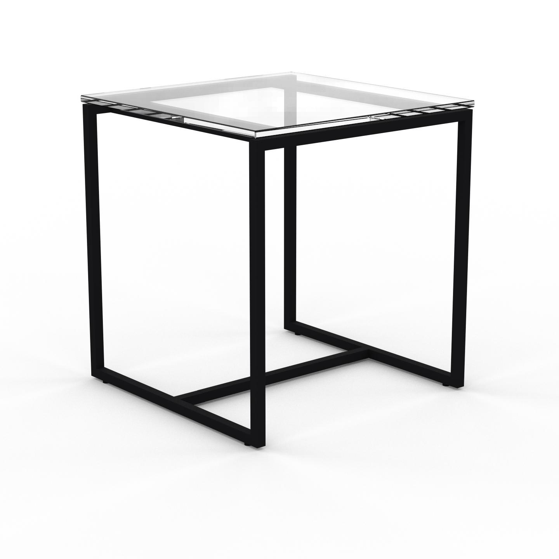 MYCS Table basse en Verre clair transparent, design industriel, bout de canapé raffiné - 42 x 46 x 42 cm, personnalisable