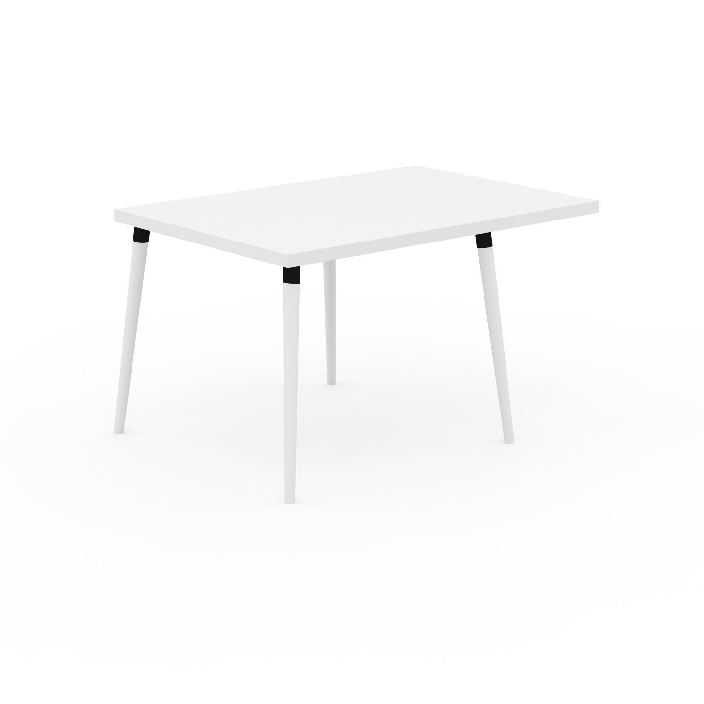 MYCS Table à manger - Blanc, design scandinave, pour salle à manger ou cuisine nordique, table extensible à rallonge - 130 x 75 x 90 cm